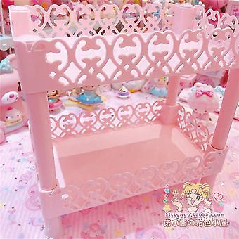 Lovely Pink Storage Rack Heart Double Shelf Storage For Dolls Collection Girls Cosmetic Display