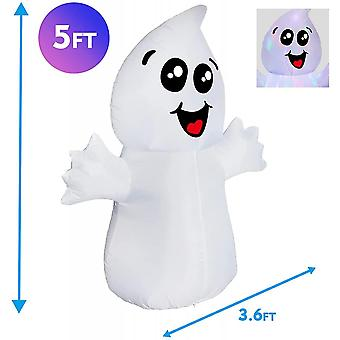 5 Ft Halloween Inflatable Outdoor Cute Ghost With Magic Light, Blow Up Yard Decoration Clearance With Led Lights Built-in