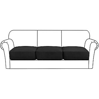 Housse de coussin de siège extensible haut protecteur de meuble de canapé avec fond élastique pour 1/2/3 place, noir