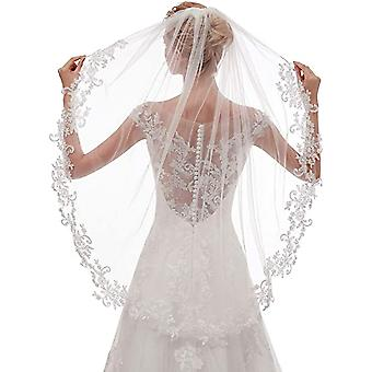 Women's Short Fingertip Length  Lace Wedding Bridal Veil