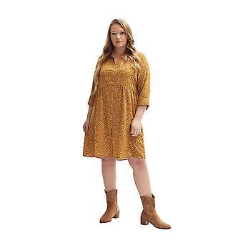 shuuk litt overdimensjonert dot-print skjorte kjole - midi lengde med skjorte krage