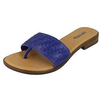 Ladies Leather Collection Flat Weave Toepost Slip On Sandals F0931