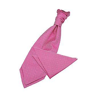 Fuchsia Pink Greek Key Wedding Cravat & Pocket Square Set