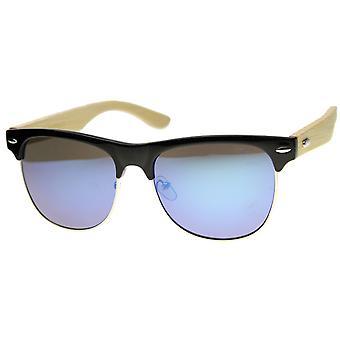 メンズ角縁サングラス UV400 保護ミラー レンズ付き
