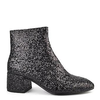 Ash Footwear Dragon Black Glitter Ankle Boot