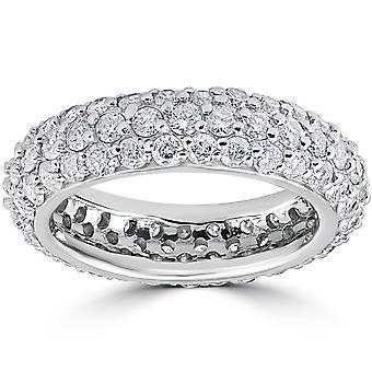 2 1 / 6ct Pave diamant evigheten bryllup jubileum Ring 14k hvitt gull