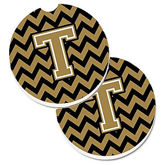 Letter T Chevron Black and Gold  Set of 2 Cup Holder Car Coasters