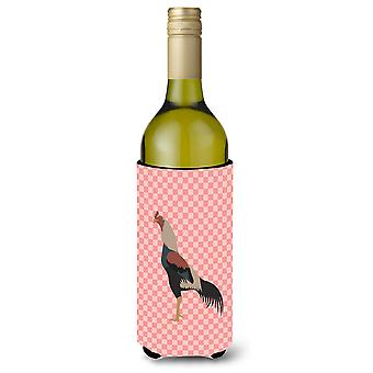Kulang Chicken Pink Check Wine Bottle Beverge Insulator Hugger