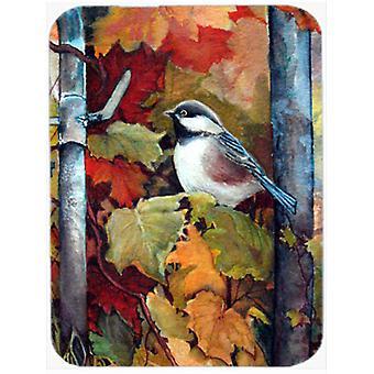 Carolines Treasures  PJC1060LCB Fence Sitter Chickadee Glass Cutting Board Large