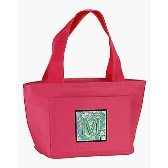 Teal alfabet początkowe litery M koło koło torba