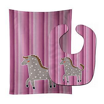 Каролинских сокровища BB6759STBU лошадь ребенок нагрудник & Берп Ткань