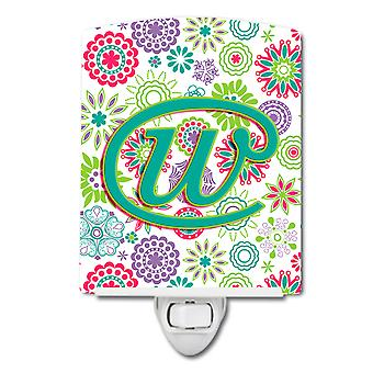 Letter W Flowers Pink Teal Green Initial Ceramic Night Light