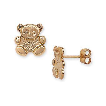 14k Gelb Gold Teddy Bear Stanzen für Jungen oder Mädchen Ohrringe - Maßnahmen 9x9mm