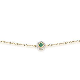 Classic Square Emerald & Diamond Halo Bracelet in 9ct Yellow Gold 135L0208039