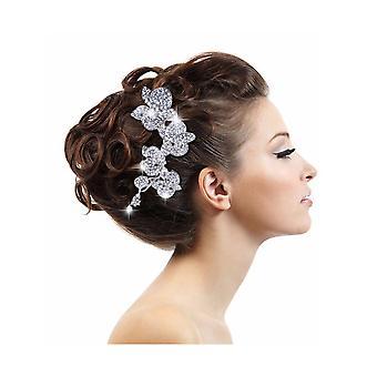 Accessoire voor bruiloft bloemen in witte Crystal haar kam