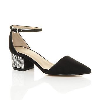 Ajvani womens metà blocco diamante cinturino alla caviglia punta lavoro partito Corte scarpe sandali