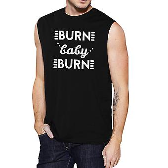 Burn Baby Mens Black Funny Tank Top Muscle Shirt Gifts For Workout