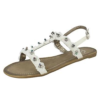 Ladies Spot On Beaded Flower Sandal A13 - White Textile - UK Size 7 - EU Size 40 - US Size 9