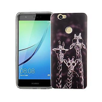 Handy Hülle für Huawei Nova Cover Case Schutz Tasche Motiv Slim TPU + Panzer Schutz Glas 9H 3 Giraffen
