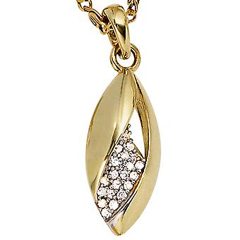 Pendants gold pendants 333 gold yellow gold part rhodium plated with cubic zirconia