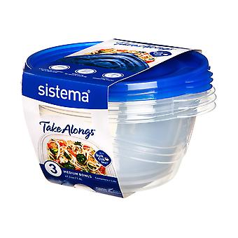 Sistema Takealongs Medium Bowl Pack of 3