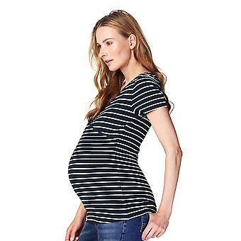 Noppies 66222-C165 kobiety Lely ciemny niebieski pasiasty Top ciążowe Krótki rękaw