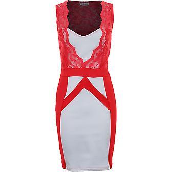 Panie bez rękawów kwadrat szyi koronki kontrastu panelu kobiet sukienka Bodycon