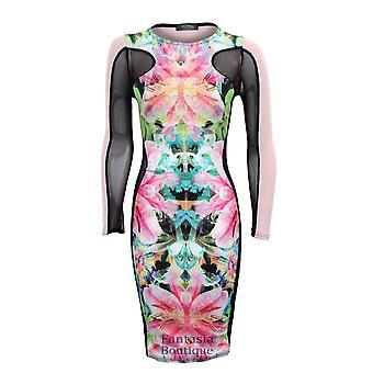Новые женские длинные сетчатыми рукавами цветочные печати женщин Bodycon платье