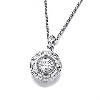 """Cavendish French Silver and Dancing CZ Round Garland Pendant with 16-18"""" Chain"""