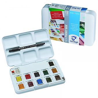 Royal Talens Van Gogh Pocket Watercolour Box - 12 Half Pans & Brush