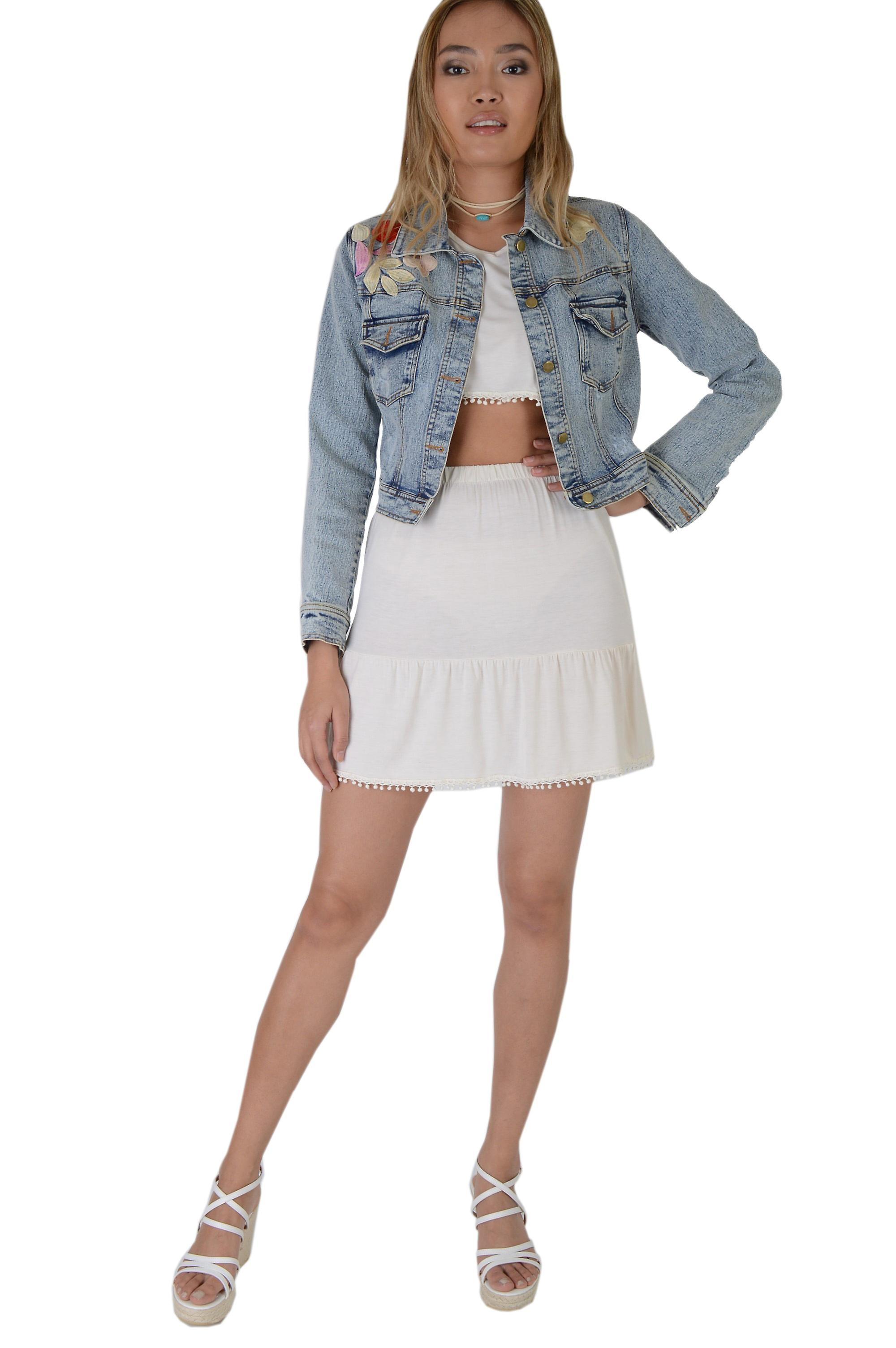 Lovemystyle Cropped Denim Jacket With Embroidery Floral Patchwork