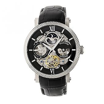 Heritor Automatic Aries Skeleton Leather-Band Watch -Black