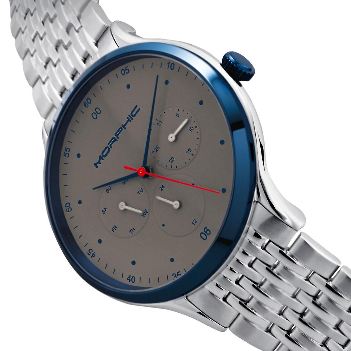 Morphic M65 Series Bracelet Watch w/Day/Date - Silver/Grey