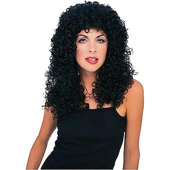 Kihara pitkä musta peruukki aikuisille