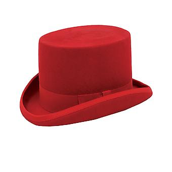 Dobell Mens Red Top Hat 100% Wool Formal Partywear