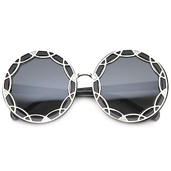 Art Deco Round Fashion Oversized Layered Designer Sunglasses