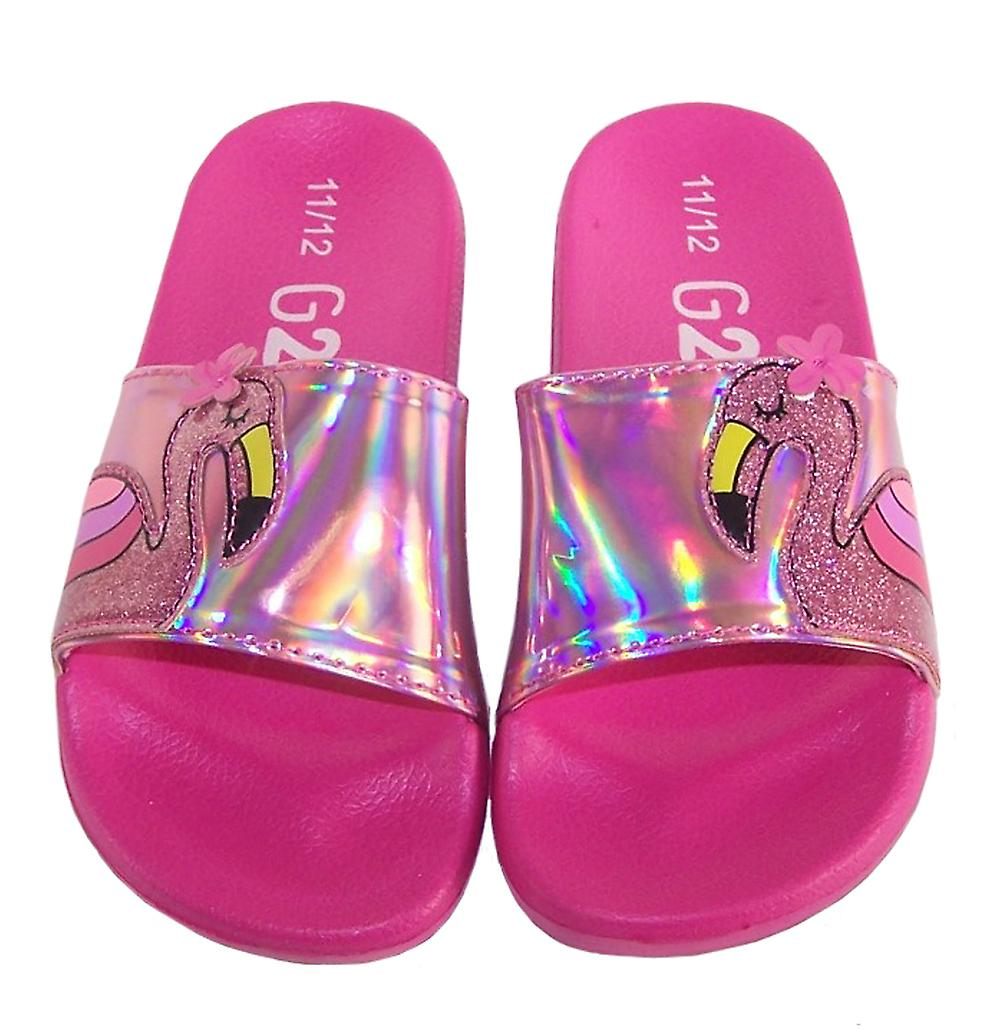 Girls pink flamingo sparkly slider sandals