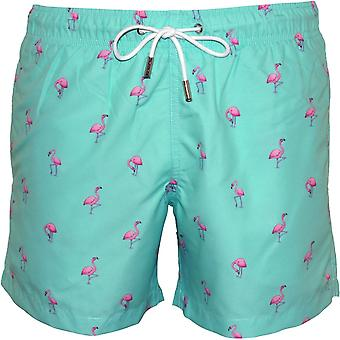Apres Pink Flamingos Swim Shorts, Light Green