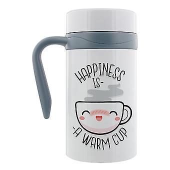 Grindstore Happiness Is A Warm Cup Thermal Travel Mug With Handle