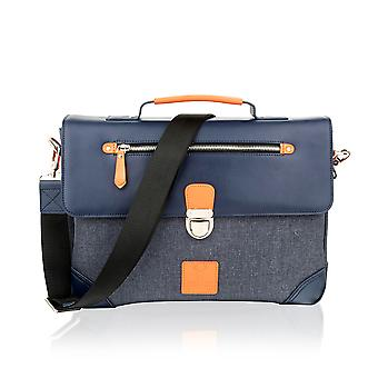 "Navy With Orange Trim Flap Over Satchel Briefcase 14.5"" Multi Compartments"