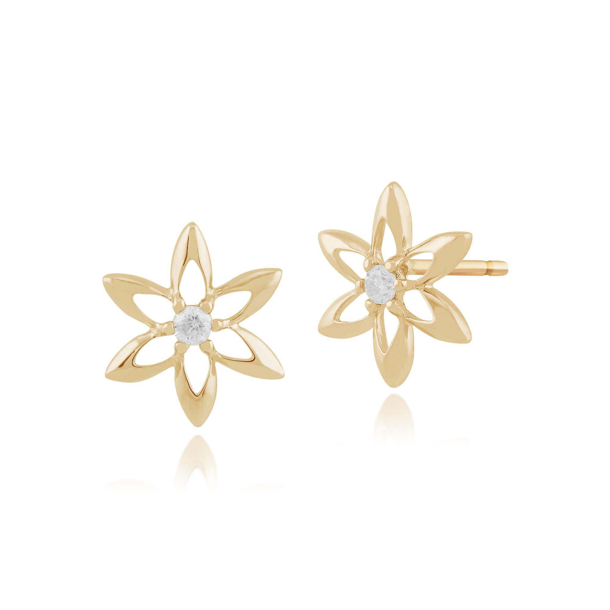 Gemondo 9ct Yellow Gold 0.06ct Diamond Spring Starflower Stud Earrings