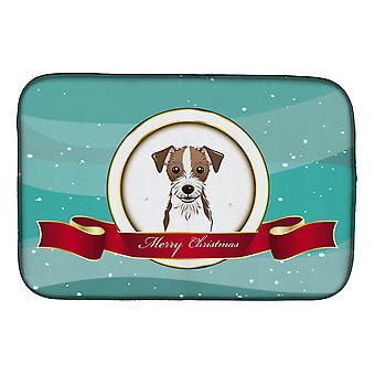 Jack Russell Terrier hyvää joulua lautasen kuivaus matto