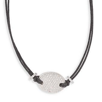 Colar de imitação de couro preto com zircônia de prata 40cm cúbico