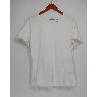 Isaac Mizrahi Live! Women's Top Knit Peplum White A303170