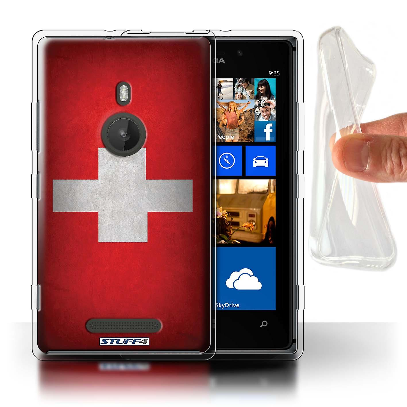 STUFF4 Gel TPU Case/Cover for Nokia Lumia 925/Switzerland/Swiss/Flags