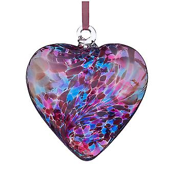 Sienna Glass 8cm Friendship Heart, Blue and Pink