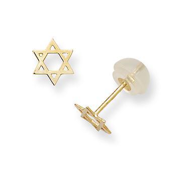 14k Sarı Altın Madi K erkek veya kız David Post Küpe Dini Judaica Star için - 0,2 Gram