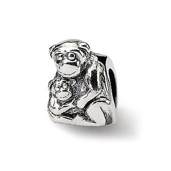 925 Sterling Silber poliert Reflexionen Mama Baby Affe Perle Anhänger Anhänger Halskette Schmuck Geschenke für Frauen