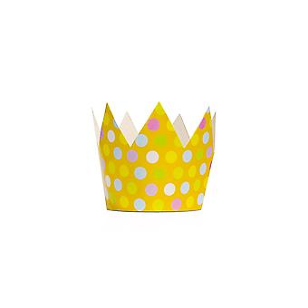 6 Spotty Mixed Colour Card Crowns for Kids Parties