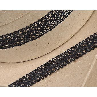10m Black 25mm Wide Cotton Lace Border Ribbon for Craft